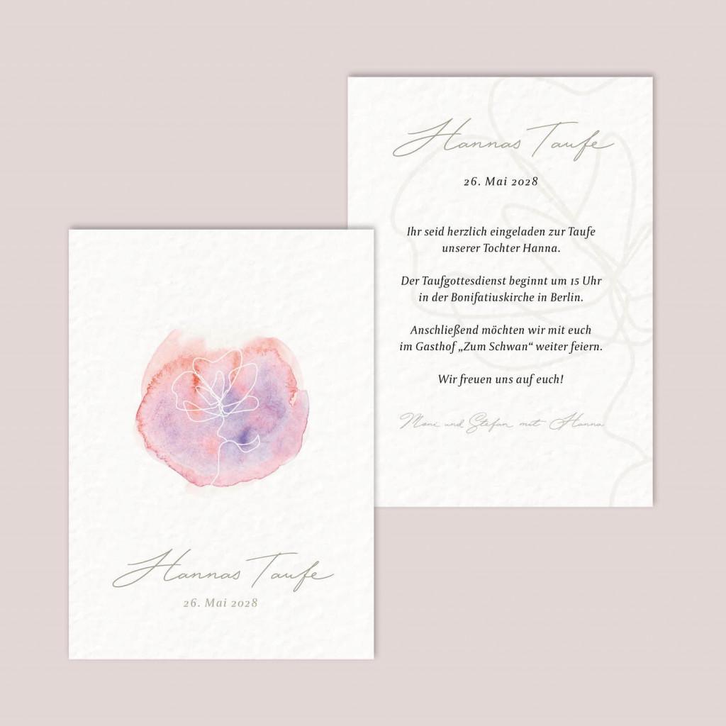 Postkarte zur Geburt - Taufe - Fadenspiel Aquarell - 105 x 148