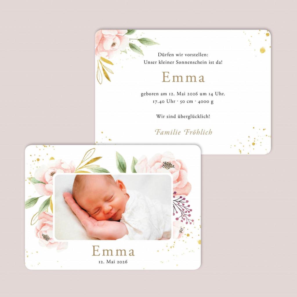 Postkarte zur Geburt - Taufe - Little Flora Summer - 105 x 148