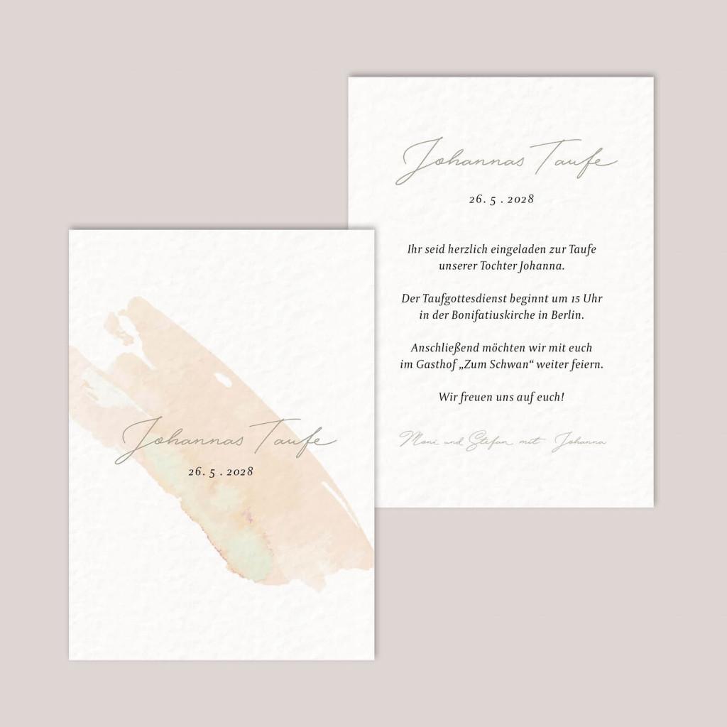 Postkarte zur Geburt - Taufe - Little Brush stroke - 105 x 148