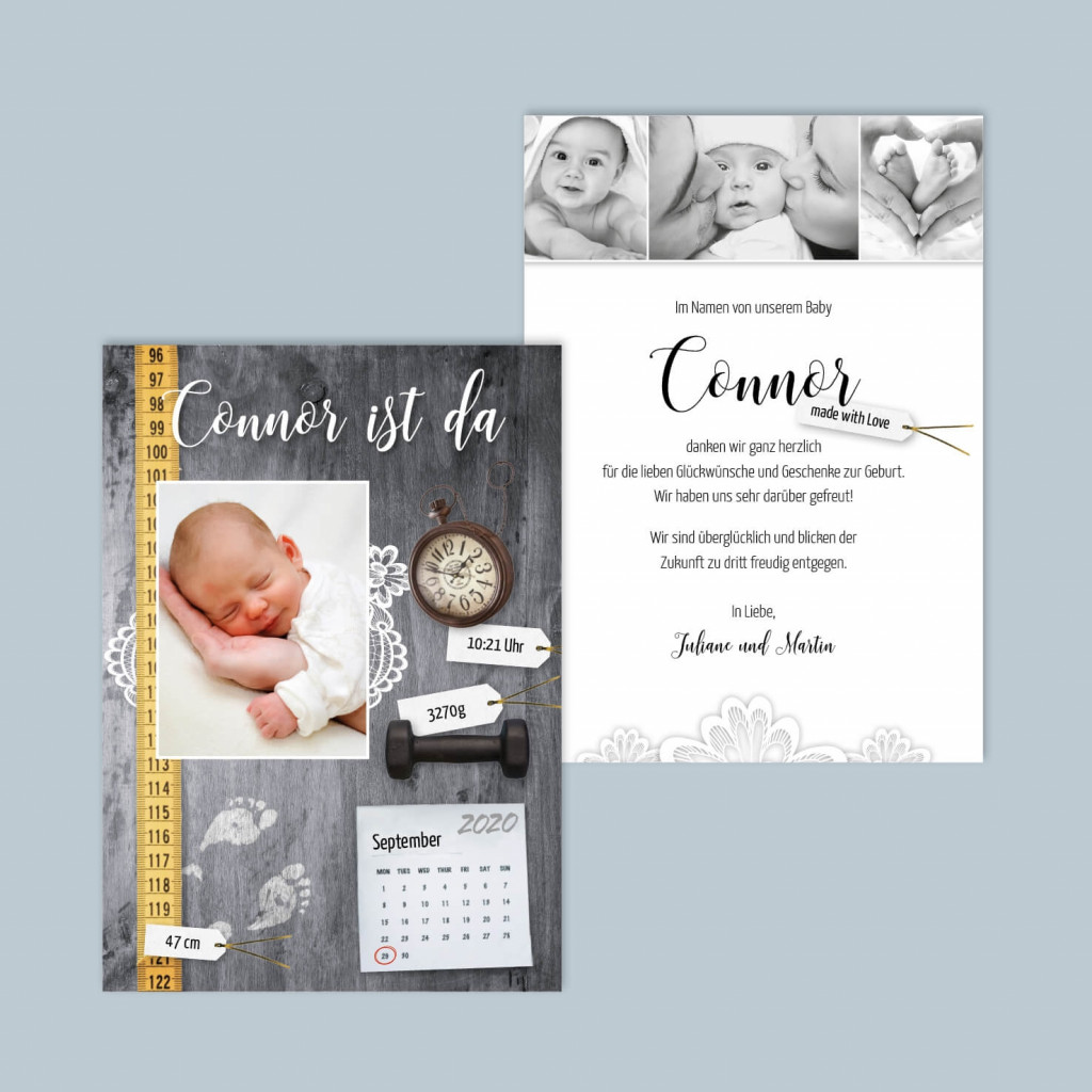 Postkarte zur Geburt - Taufe - Little Details - 105 x 148