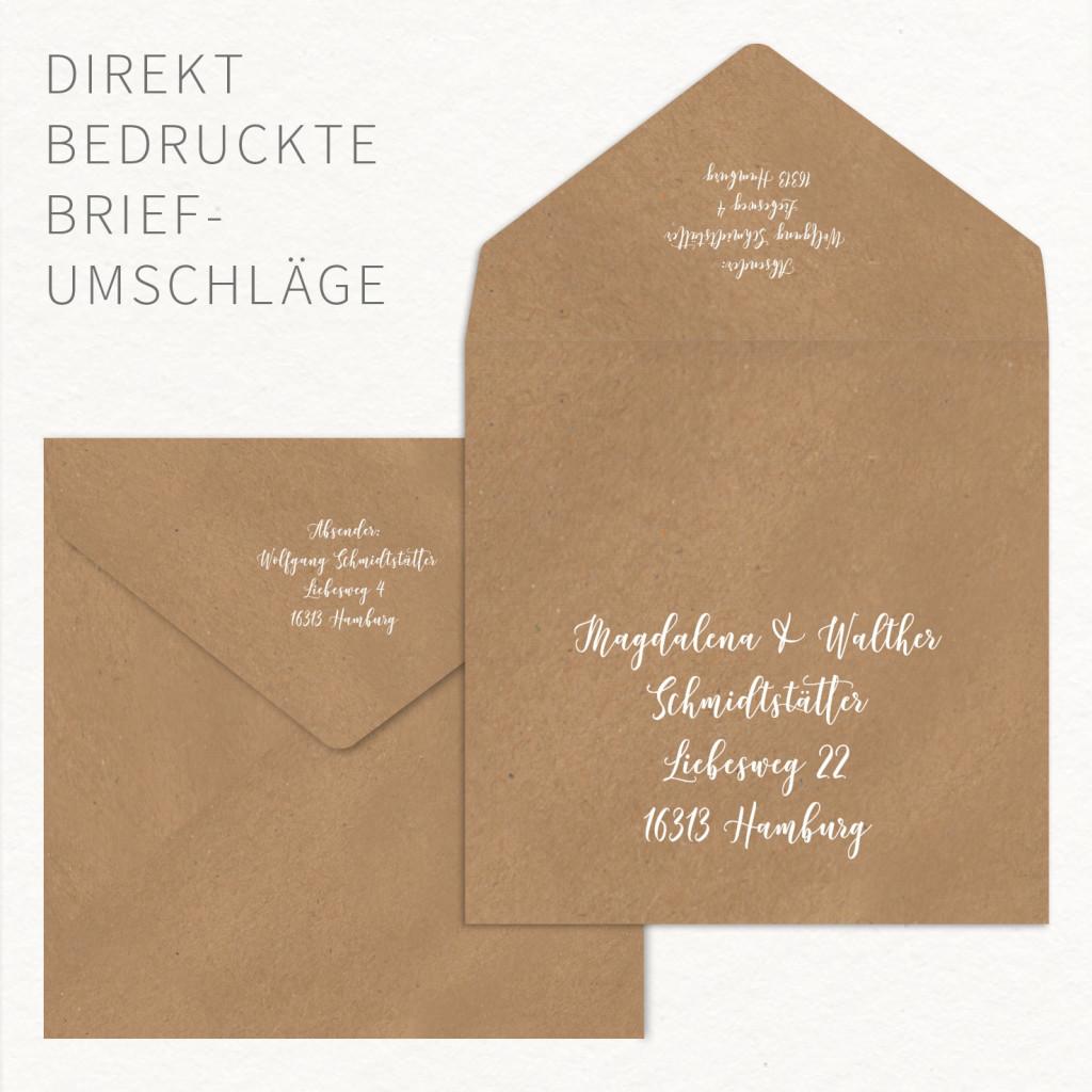 weiß bedruckte Kraftpapier-Briefumschläge
