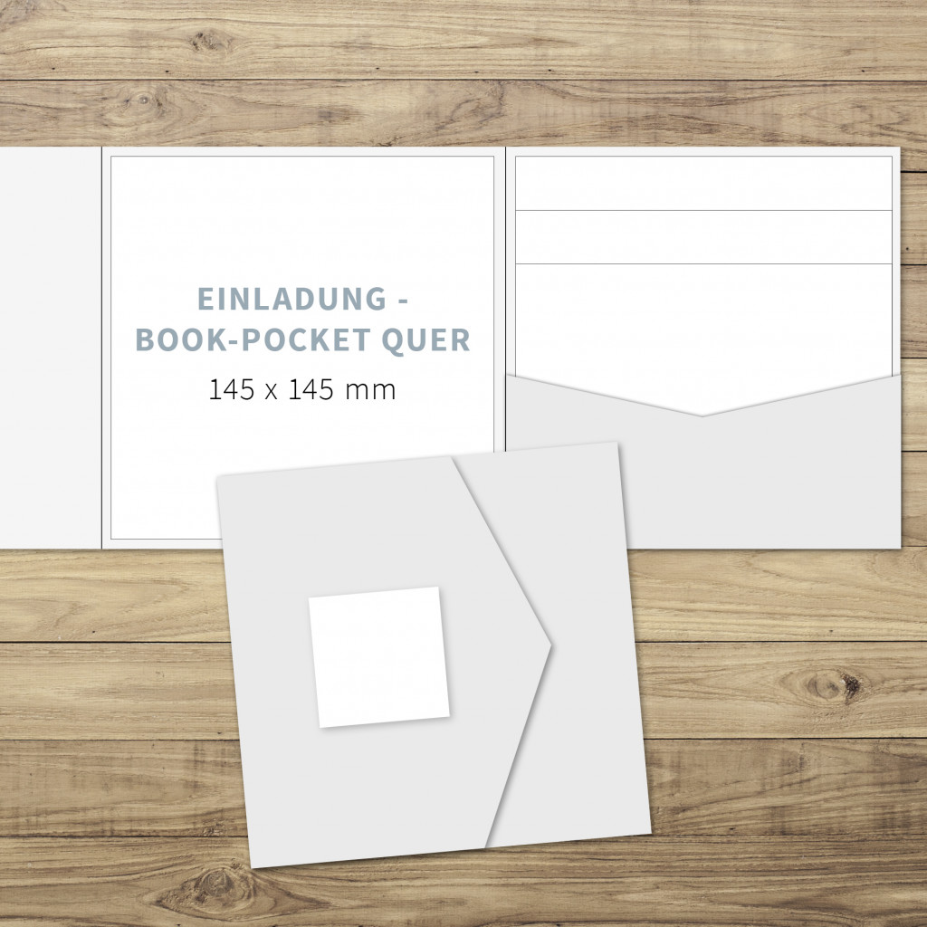 Blanko   Einladung   Book Pocketfold (quer)   145 X 145 Mm