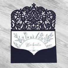 Handdrawn Flowers - Einladung in Lasercuthülle dunkelblau