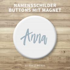 Namensschilder Buttons mit Kontermagnet – 32 mm od. 44 mm rund // 40 mm quadratisch