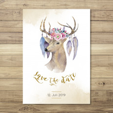 Watercolor Deer - Save the Date - Postkarte - 148 x 105