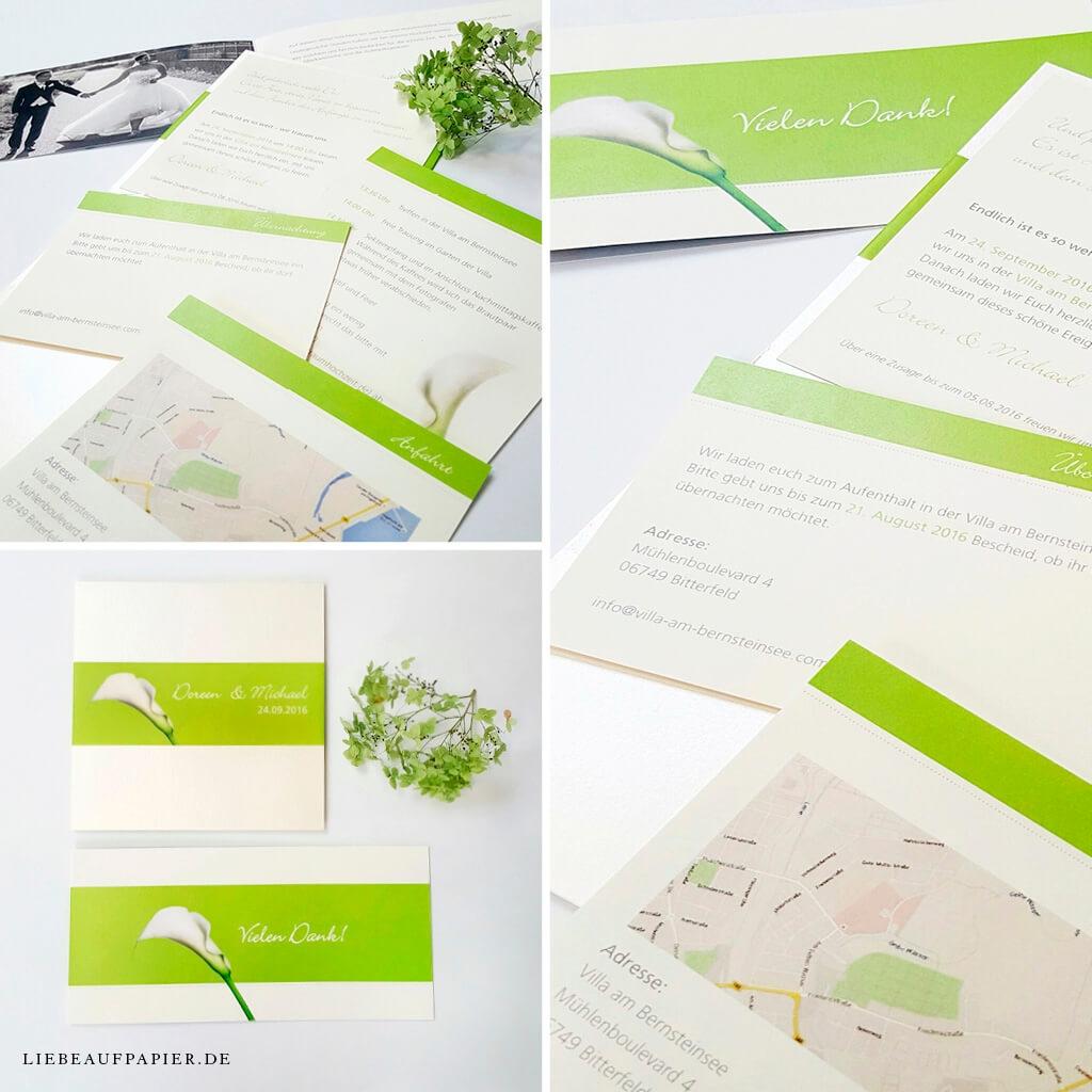 Nr. 08 – Individuelles Design – Pocketfold mit 3 Einlegern, transparenter Banderole und einer Einladungs-Klappkarte.