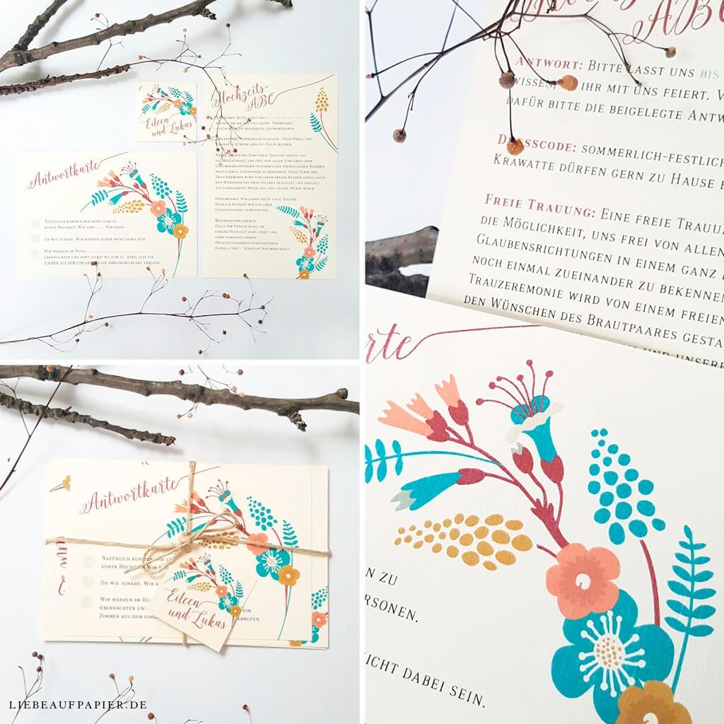 Nr. 06 – Individuelles Design – Einladungsset (bestehend aus 2 Karten) mit Kordel und Anhänger.