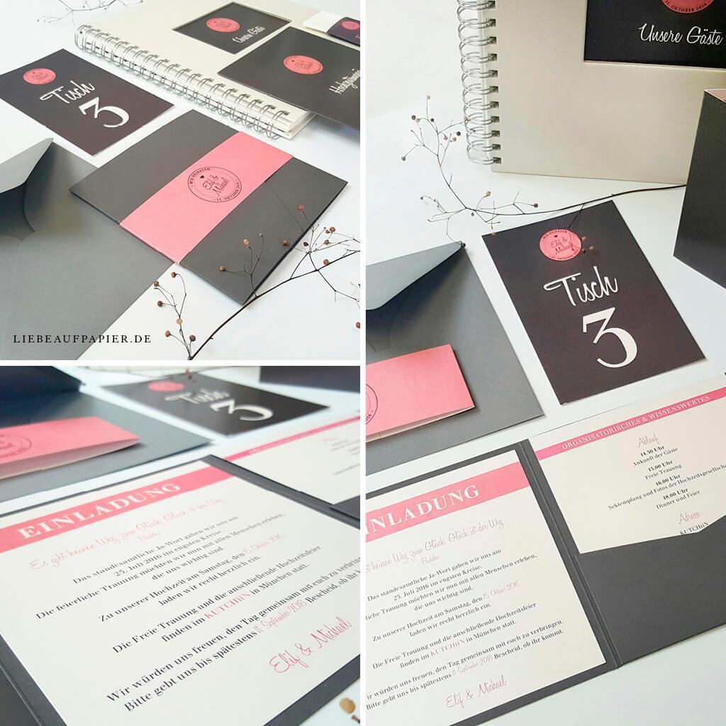 Nr. 10 – Individuelles Design – Book-Pocket quer in der Sonderfarbe 214 – dark grey mit 1 Einleger, Tischkarte und Gästebuch.