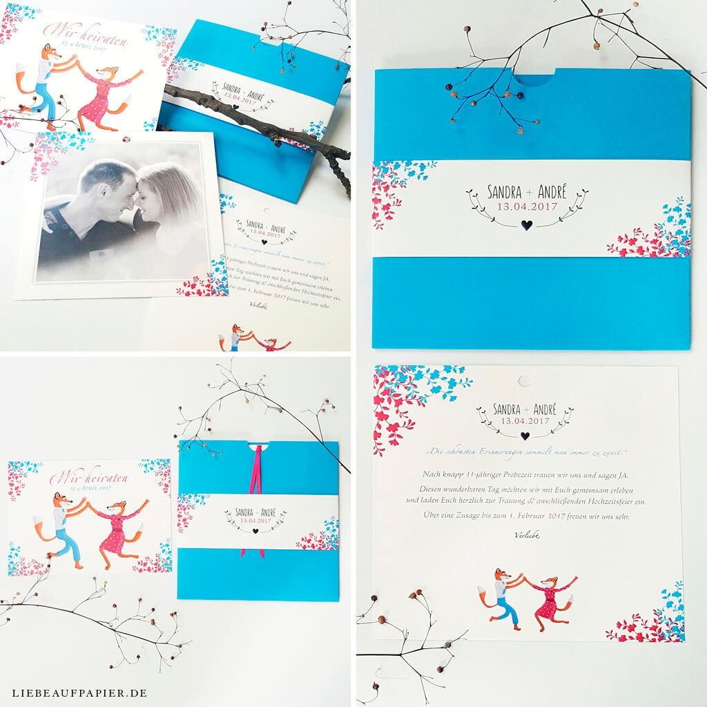 Nr. 09 – Individuelles Design – Wallet in der Sonderfarbe 353 – deep blue mit Banderole und Einleger + indiviuellen Illustration.