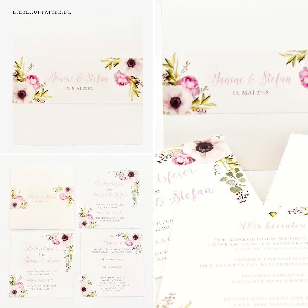 Nr. 41 – Individuelles Design – Wallet mit 3 Einlegern, individuellen Blumen und passender Banderole.