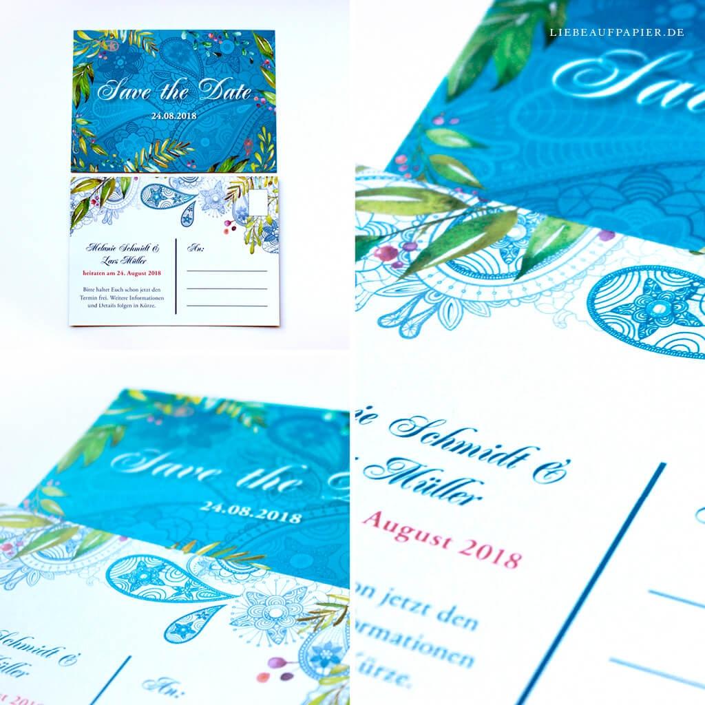 Nr. 22 – Individuelles Design – Save the Date-Karte – Format A5 – im orientalischen Design.
