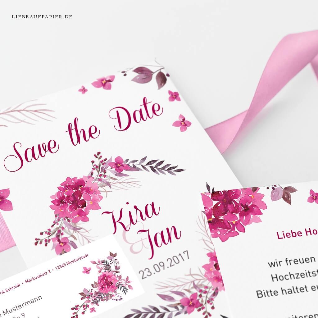 Nr. 35 – Individuelles Design – Doppelseitige Save the Date-Karte mit Aquarell-Flieder-Elementen und personalisierten Adressetiketten.