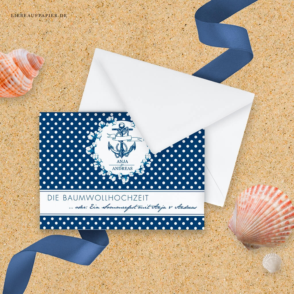 Nr. 31 – Individuelles Design – Einladungs-Postkarte im maritimen Stil mit Baumwoll-Illustration.'