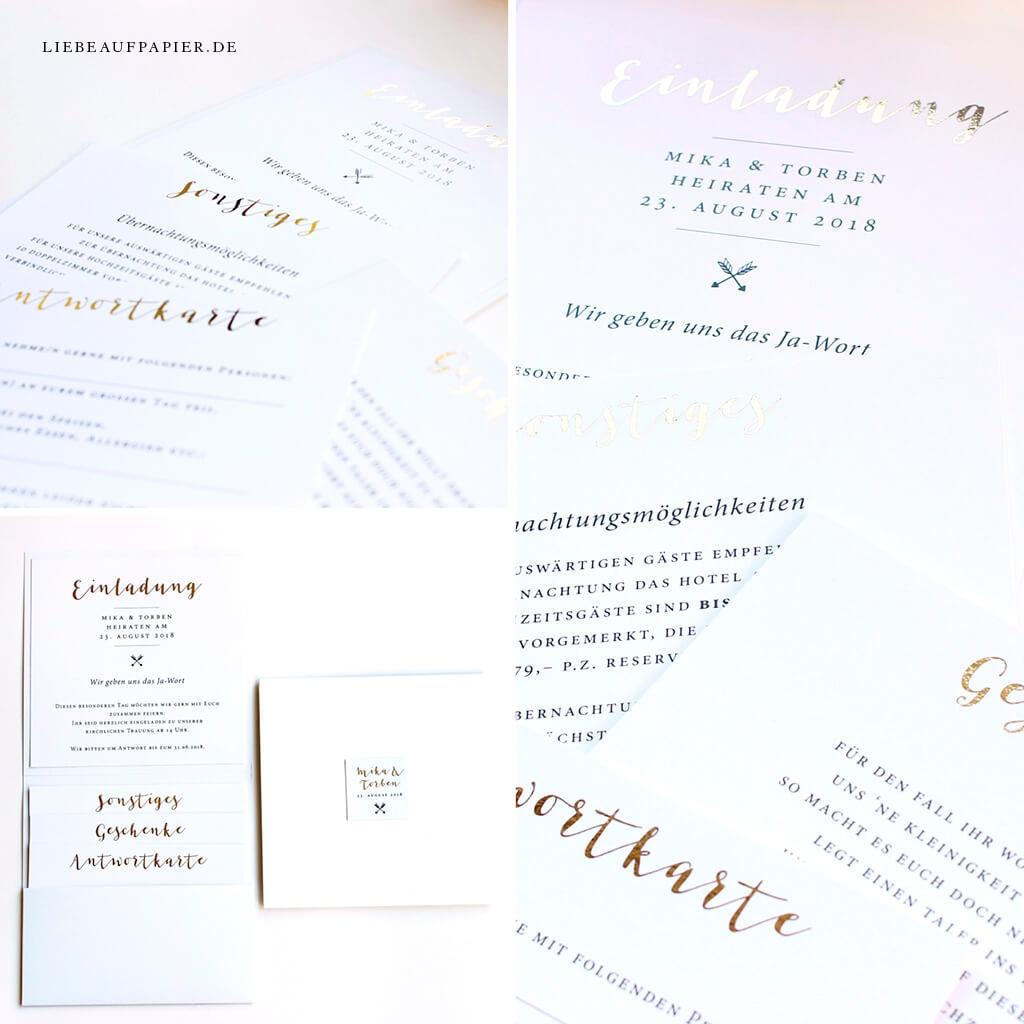 Nr. 25 – Individuelles Design – Pocketfold hoch – mit 3 Einleger, goldfolierten Überschriften und eingeklebten Einleger oben.