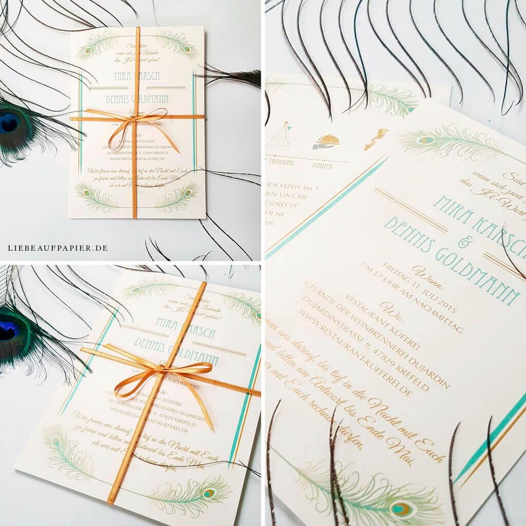Nr. 14 – Individuelles Design – Einladungsset mit 2 Einlegern und Satinband.