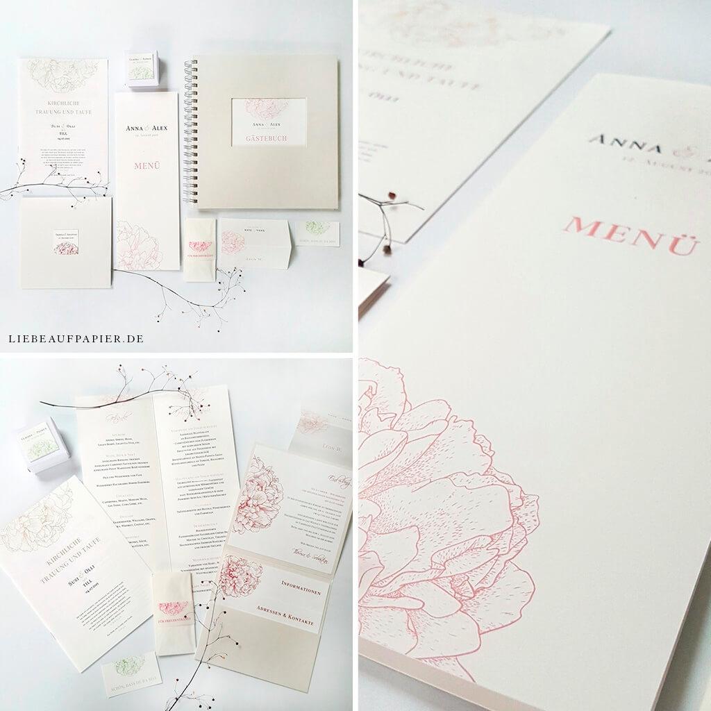 Nr. 13 – My Blossom – Menükarte + Geschenkschachtel + Kirchenheft + Freudentränenbanderole + Pocket + Gästebuch + Platzkarte + Anhänger.
