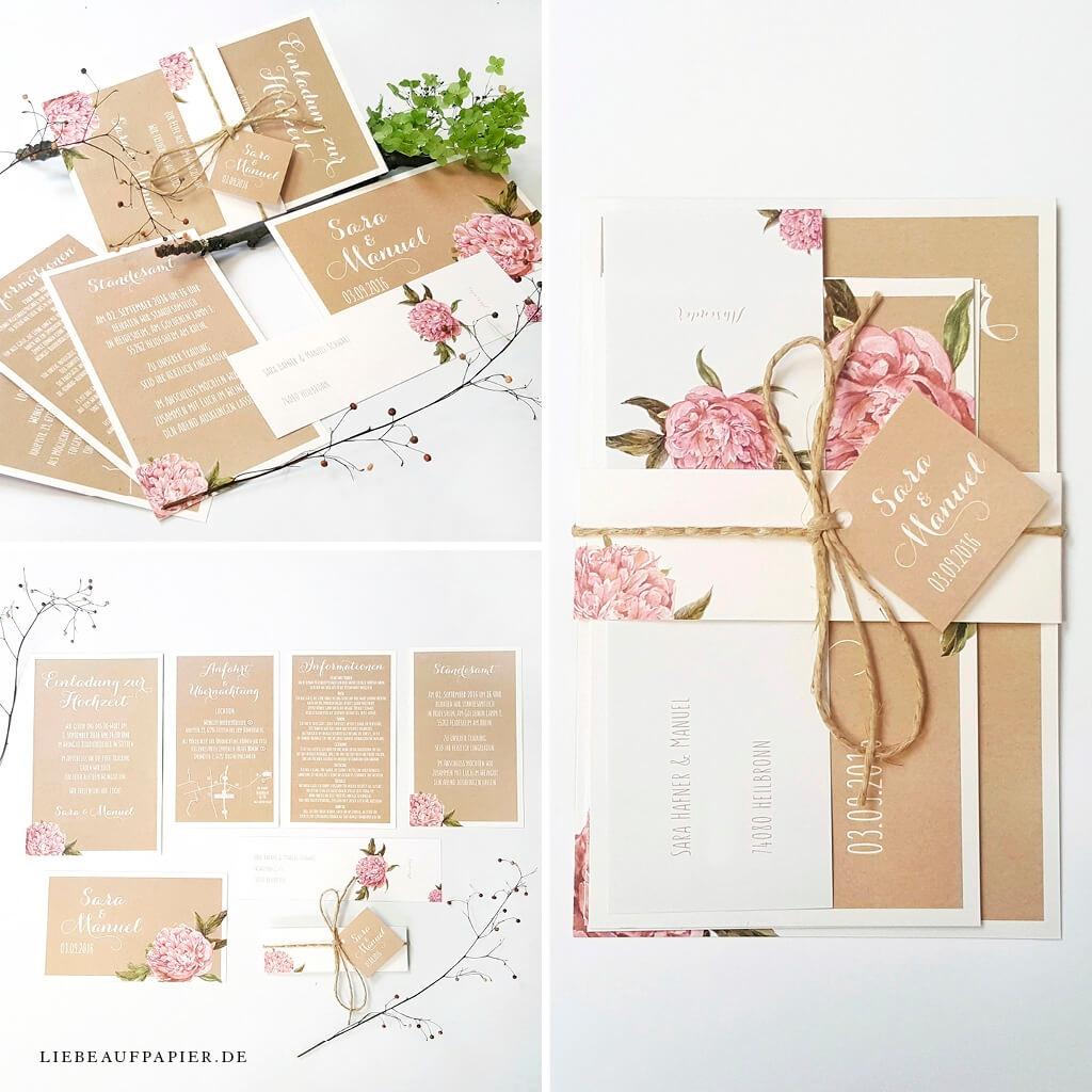 Nr. 11 – Individuelles Design – Einladungsset – mit Banderole, Kordel, 5 Karten und Adressaufkleber.