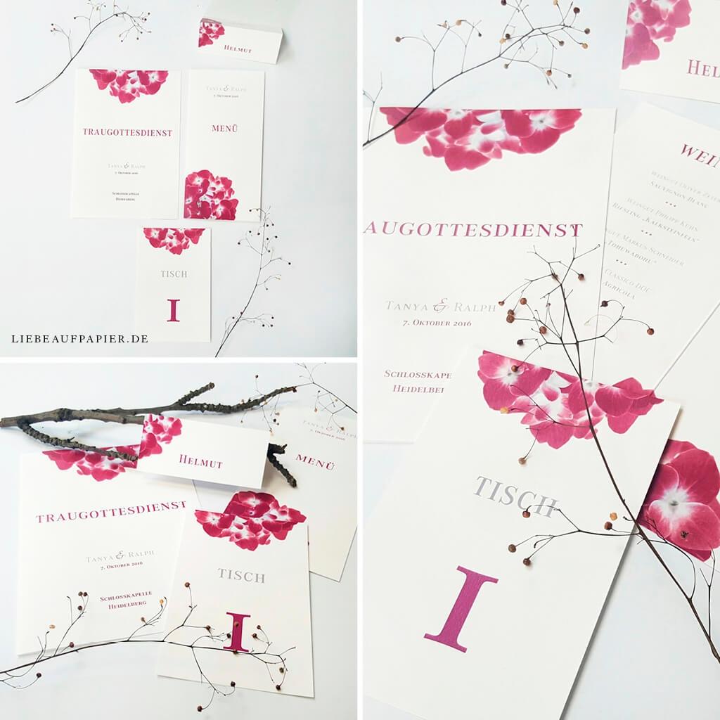 Nr. 16 – Individuelles Design – Kirchenheft + Menükarte + Tischkarte + Platzkarte.