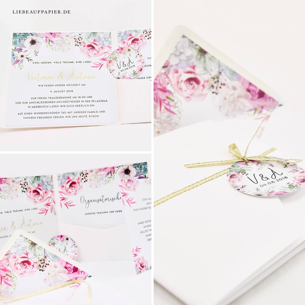 Nr. 40 – Individuelles Design – Book-Pocket quer mit 2 Einlegern, Goldfolierung, individuellen Blumen, Goldband und runden Anhänger.