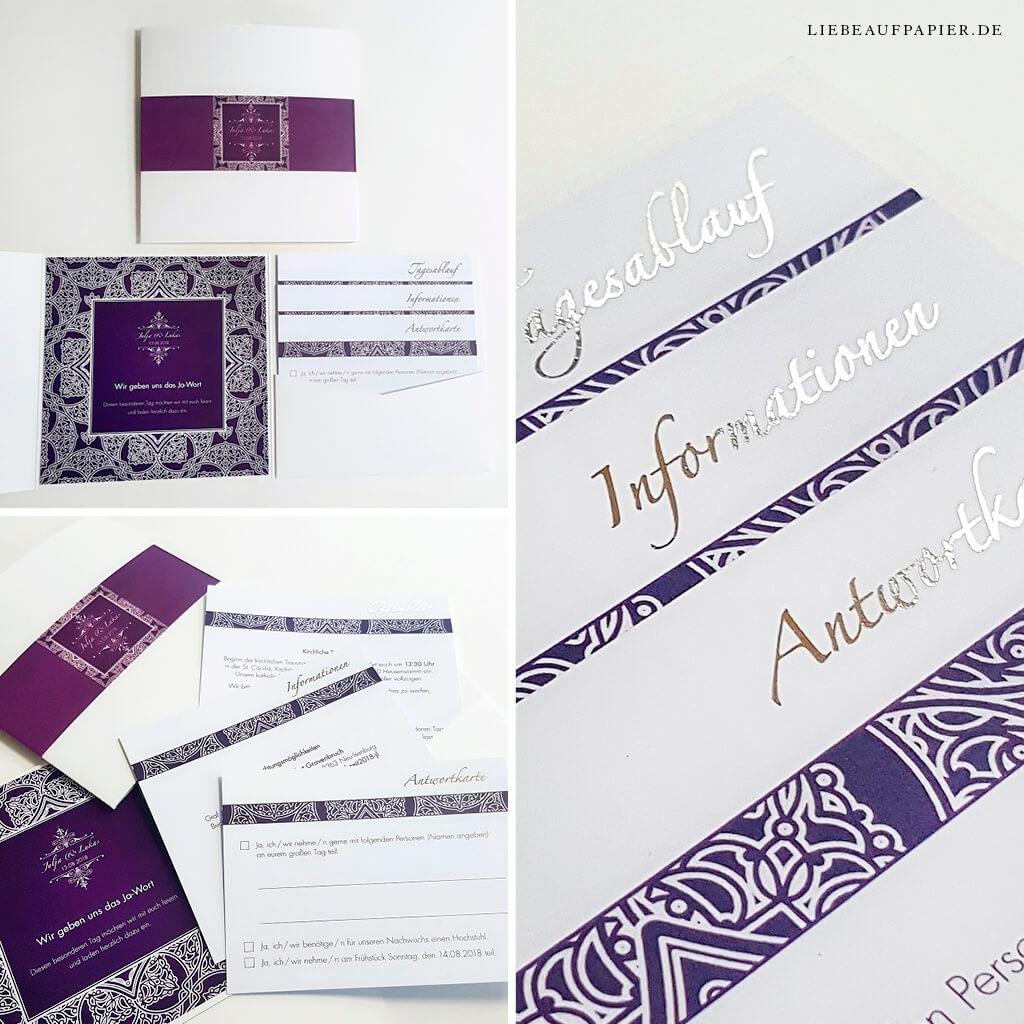 Nr. 24 – Individuelles Design – Book-Pocket quer in creme struktur – im orientalischen Design – mit 3 Einleger, goldfolierten Überschriften und eingeklebten Einleger links.