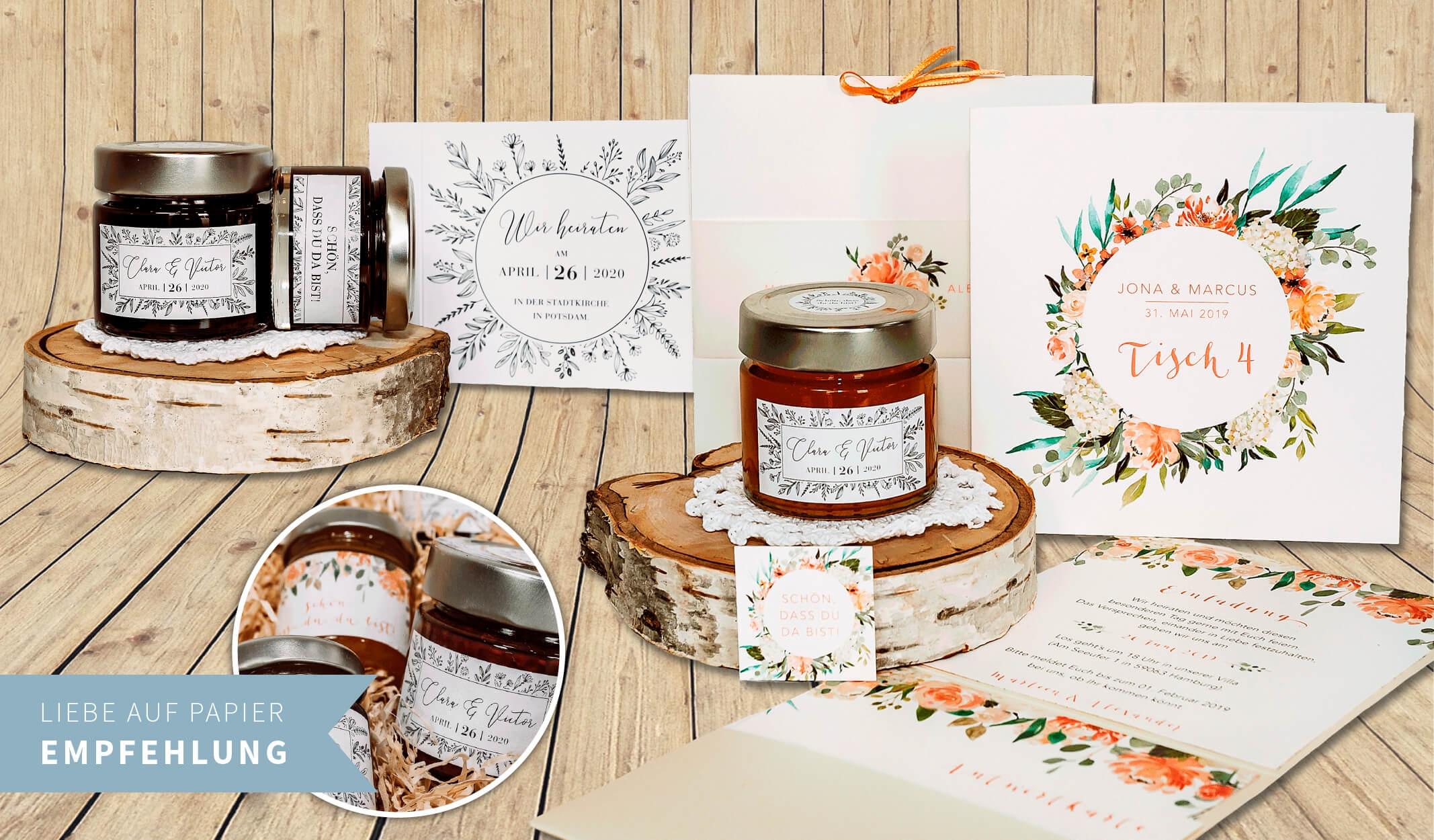 Gastgeschenke – Marmeladengläschen