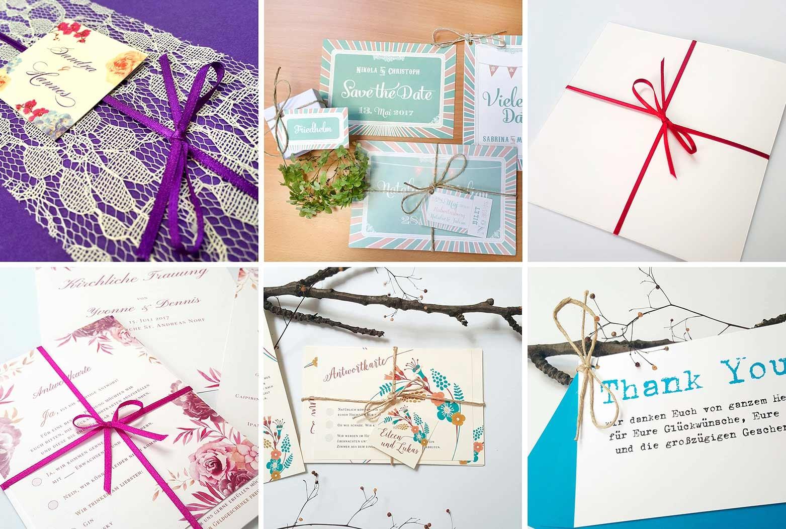 Hochzeitseinladungen mit Satinband, Kordel, Strick, Geschenkband, Dekogarn